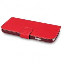 Etui rouge simili cuir ouverture folio pour Samsung S4