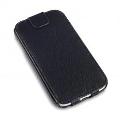 Etui noir à clapet en cuir simili pour Samsung S4