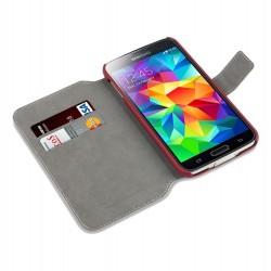 étui rouge fonction stand pour Samsung S5