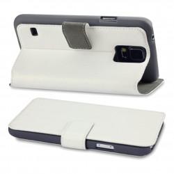 étui blanc fonction stand pour Samsung S5