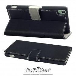 étui pour Sony Xperia Z3 noir folio fonction stand