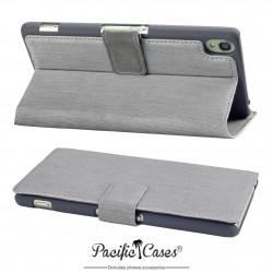 étui pour Sony Xperia Z3 gris folio fonction stand