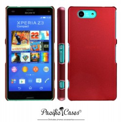 Coque pour Sony Xperia Z3 Compact rouge métallisé touché gomme