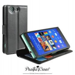étui noir pour Sony Xperia Z3 Compact ouverture folio et fonction stand par Pacific Cases®