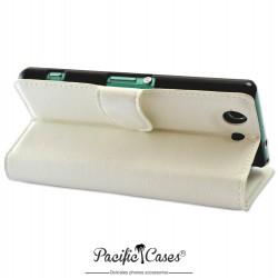 étui blanc pour Sony Xperia Z3 Compact ouverture folio et fonction stand par Pacific Cases®