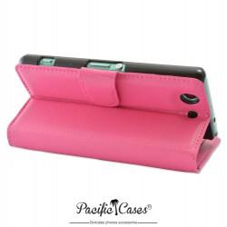 étui fushia pour Sony Xperia Z3 Compact ouverture folio et fonction stand par Pacific Cases®