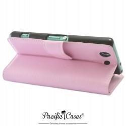 étui rose pale pour Sony Xperia Z3 Compact ouverture folio et fonction stand par Pacific Cases®