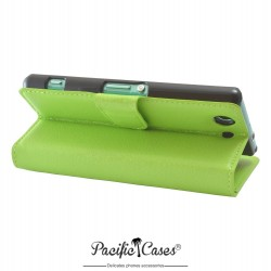 étui vert pour Sony Xperia Z3 Compact ouverture folio et fonction stand par Pacific Cases®