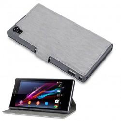Etui gris fonction stand à ouverture folio pour Sony Xperia Z1