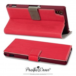 Etui pour Sony Xperia Z1 rouge folio fonction stand