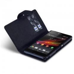 Etui noir ouverture porte-feuille pour Sony Xperia Z