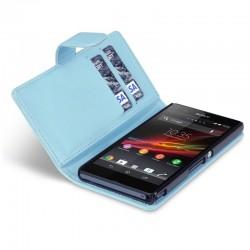 Etui bleu ouverture porte-feuille pour Sony Xperia Z