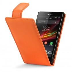 Etui orange à clapet pour Sony Xperia Z
