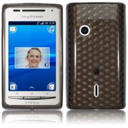 Coque gel noire motifs facettes  pour Sony-Ericsson Xperia X8