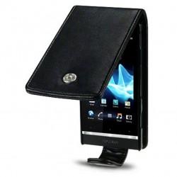 Etui noir à ouverture clapet pour Sony Xperia U
