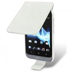 Etui blanc ouverture à clapet pour Sony Xperia Tipo
