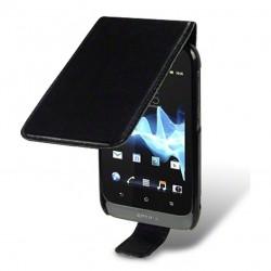 Etui noir à ouverture clapet pour Sony Xperia Tipo