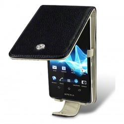 Etui cuir noir véritable pour Sony Xperia T