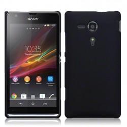 Coque noir mat rigide touché gomme pour Sony Xperia SP