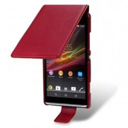 Etui rouge ouverture clapet pour Sony Xperia SP
