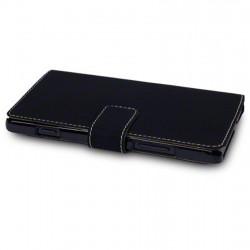 Etui noir folio simili cuir pour Sony Xperia SP