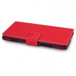 Etui rouge folio simili cuir pour Sony Xperia SP