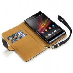 Etui noir porte-feuille simili cuir pour Sony Xperia SP