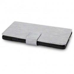 Etui gris folio simili cuir pour Sony Xperia SP