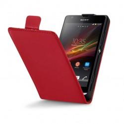 Etui rouge cuir verni à clapet pour Sony Xperia SP