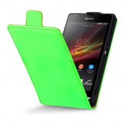 Etui vert fluo cuir verni à clapet pour Sony Xperia SP