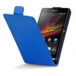 Etui bleu électrique cuir verni à clapet pour Sony Xperia SP