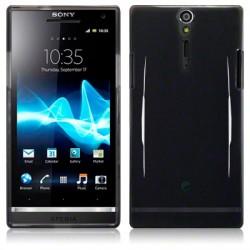 Coque noir piano pour Sony Xperia S