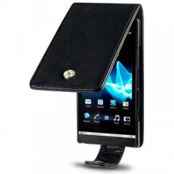 Etui noir façon cuir pour Sony Xperia S
