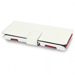 Etui blanc simili cuir ouverture folio pour Sony Xperia L