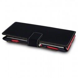 Etui noir simili cuir ouverture folio pour Sony Xperia L