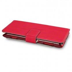 Etui rouge simili cuir ouverture folio pour Sony Xperia L