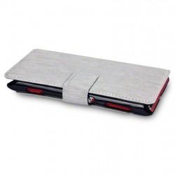 Etui gris simili cuir ouverture folio pour Sony Xperia L