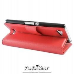 étui rouge pour Sony Xperia E3 folio et fonction stand par Pacific Cases®