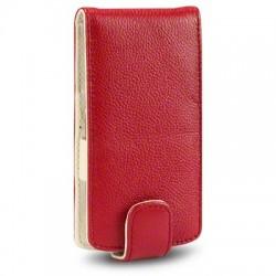Etuis cuir rouge véritable pour Sony-Ericsson Xperia Arc