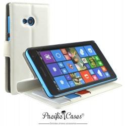 étui pour Microsoft Lumia 535 ouverture folio et fonction stand par Pacific Cases® - blanc