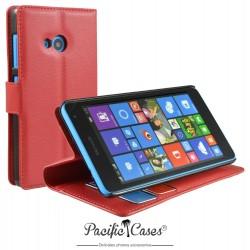 étui pour Microsoft Lumia 535 ouverture folio et fonction stand par Pacific Cases® - rouge