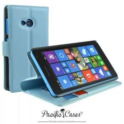 étui pour Microsoft Lumia 535 ouverture folio et fonction stand par Pacific Cases® - bleu clair