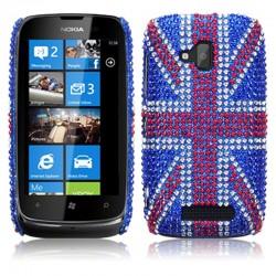 Coque drapeau anglais strass Nokia Lumia 610