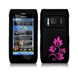 Coque silicone noir avec fleurs fushia pour Nokia N8