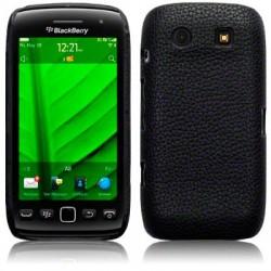 Coque rigide noire imitation cuir pour Blackberry Torch 9860
