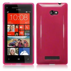 Coque rose translucide pour HTC 8x Windows Phone