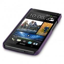 Coque pourpre rigide touché gomme pour HTC One M7
