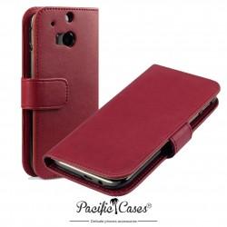 Etui rouge folio pour HTC One M8 (2014)