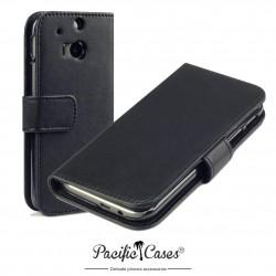 Etui pour HTC One M8 noir ouverture folio