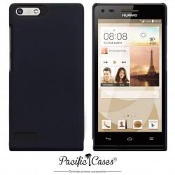 Coque noire touché gomme pour Huawei Ascend P7